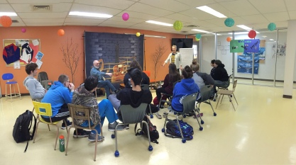 Jim and Fergus doing a workshop with secondary students. Photo by Kelly Anderson-Lessard.